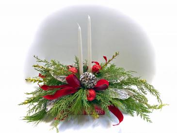 Merry Christmas with Candles Fresh arrangement