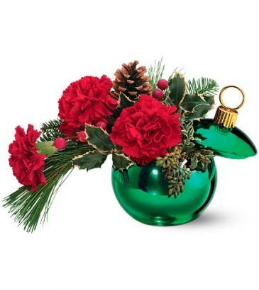 Merry Green Ornament Jar Holiday Arrangement