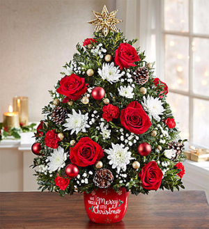 Merry Little Christmas Holiday Flower Tree Christmas tree in Orlando, FL | Artistic East Orlando Florist
