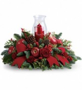 Merry Magnificence Chimney Candle & Pine Centerpiece