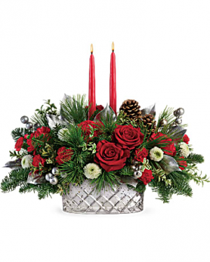 MERRY MERCURY CENTERPIECE CHRISTMAS in Berkley, MI | DYNASTY FLOWERS & GIFTS