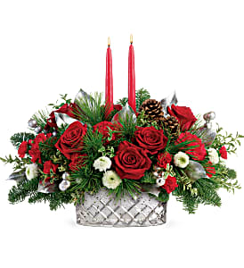 Merry Mercury Centerpiece Christmas Arrangement in Winnipeg, MB | CHARLESWOOD FLORISTS