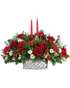 Merry Mercury Centerpiece Holiday in Fowlerville, MI | ALETA'S FLOWER SHOP