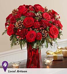 Merry Merry- Red vase design in Tampa, FL | BAY BOUQUET FLORAL STUDIO