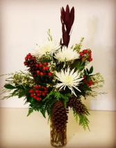 Joyful Red and White Vase with Pine Cones and Red Berries!