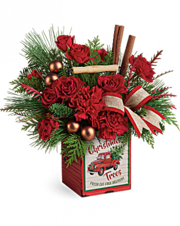 Merry Vintage Christmas Bouquet Floral Arrangement
