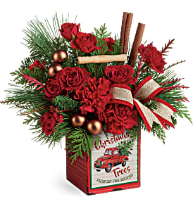 Merry Vintage Christmas Bouquet Teleflora in Springfield, IL | FLOWERS BY MARY LOU