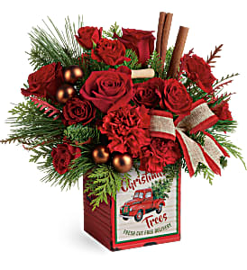 Merry Vintage Christmas Fresh Flowers