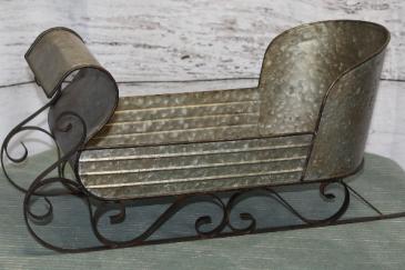 Metal and Tin Sleigh Gift Item