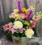 Metal Container Mix Fresh Flowers