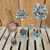 Metal Flower Wrapped Gift