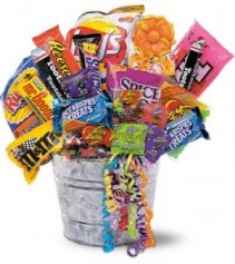 METAL PAIL OF JUNK FOOD Keepsake Container