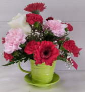 Metal Teacup Floral Design