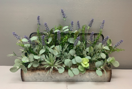 Metal wall haning with lavender and greenery Artificial silk