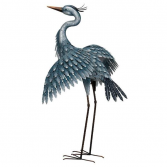 Metallic Blue Heron-Wings Out Regal Art & Gifts