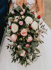 MICHELLE WEDDING BOUQUET Cascade Style in pink and white roses