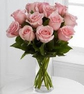 R 4- One Dozen Mid stem roses in a vase Also available in other colors