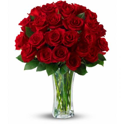 Midnight Passion Vase of Flowers