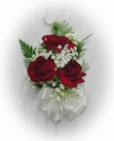Min Burg. Carnations, B.B Pin On Corsage