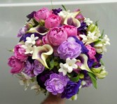 MINI CALLA LILIES, MINI CARNATIONS, STEPHANOTIS, S WEDDING BOUQUET