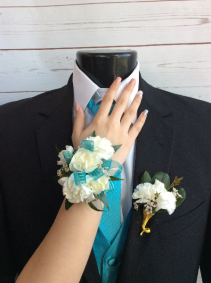 Mini Carnaitons (White) Corsage & Boutonniere Pair