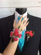 Mini Carnation (Hot Pink) Corsage & Boutonniere Pair