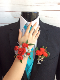 Mini Carnation (Red) Corsage & Boutonniere Pair