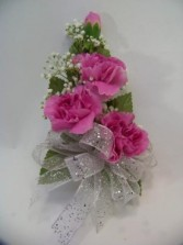 Mini Carnation Wrist Corsage with babys breath Wrist Corsage