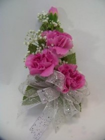 Mini Carnation Wrist Corsage with babys breath