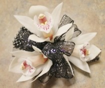 Mini Cymbidium Orchid Wristlet w/ Pearl Band