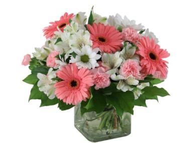 Mini Pinks & White Cube Vase  Small Cube vase