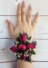 Mini Rose (Fuchia, Hot Pink) Wrist Corsage