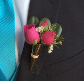 Mini Rose (Medium Pink) Boutonniere in Metal Holder
