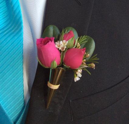 Mini Rose (Medium Pink) Boutonniere in Metal Holder