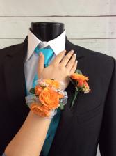 Mini Rose (Orange)  Corsage & Boutonniere Pair