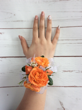 Mini Rose (Orange) Wrist Corsage