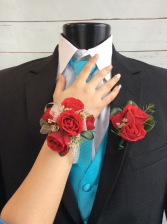 Mini Rose (Red) Corsage & Boutonniere Pair