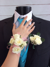 Mini Rose (White) Corsage & Boutonniere Pair