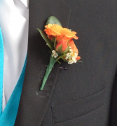 Mini Rose (Orange) Boutonniere