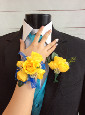 Mini Rose (Yellow) Corsage & Boutonniere Pair