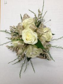 Mini White rose wristlet