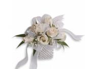 Mini white spray roses wristlet corsage  Corsage