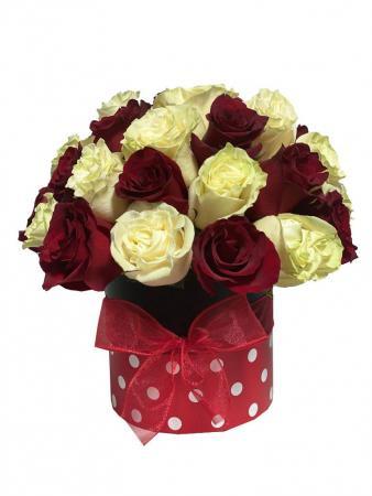 Cream & Cherries Box of Roses