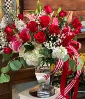 Mirror vase floral  Valentine's