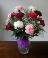 Mixed Carnations in Vase One Dozen Mixed Carnations in Vase