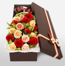 Mix color roses in gift box