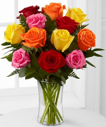 mix color roses vase arrangement