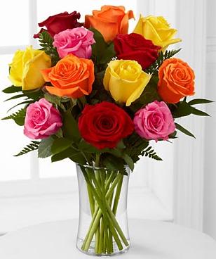 mix color roses vase arrangement