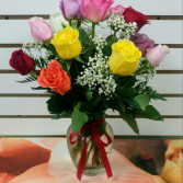 mix colorful roses in vase