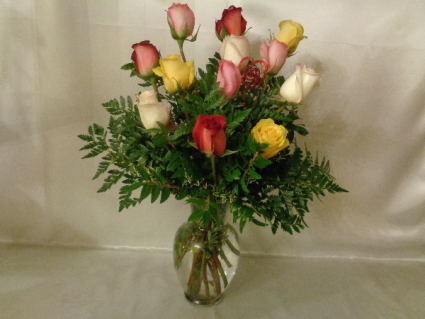 Mixed Colored Roses Vase Arrangement